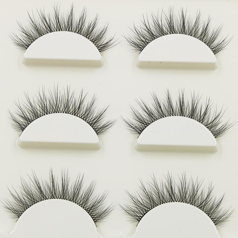 New 1 Box 3 Pairs Natural Long Eye Lashes 3d Multi-layer Curling Cross False Eyelashes Daily Dating Makeup Tools Fake Eyelashes