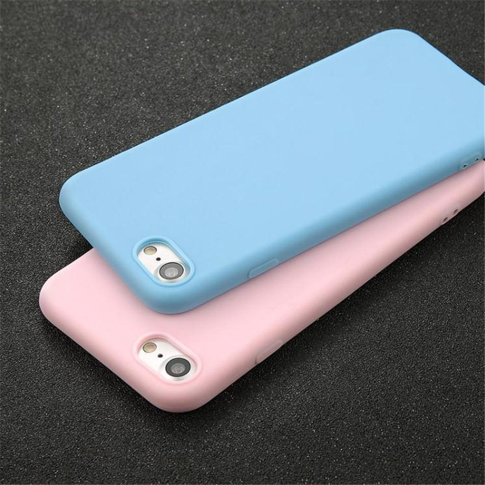 For iPhone 7 6 6s 8plus XS XR 5 5s se Simple Pure Candy Color with 7 Colors Glitter Soft TPU Back Case Cover DHL Fast Shipping