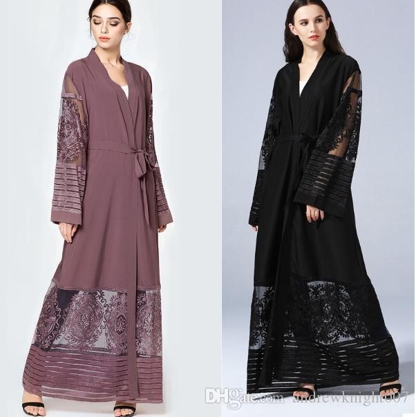 Исламский мусульманский шаблон макси платье вышивка сетки кардиган халаты Абая Турецкий мгновенный хиджаб Vestidos кафтан платья Dk732mz
