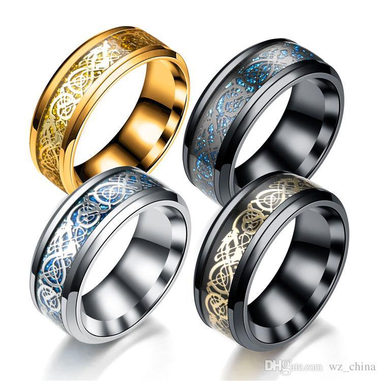 Wedding Band For Women 8mm Carbon Fiber Celtic Dragon Rings for Men Beveled Edges Wagner's Ring of the Nibelung