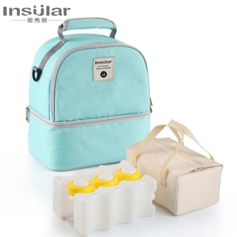 Garrafa 1Set Duplas Saco do bebê de maternidade alimentação com leite fresco Mantendo Enfermagem armazenamento refrigerador sacos das fraldas térmica Mochila