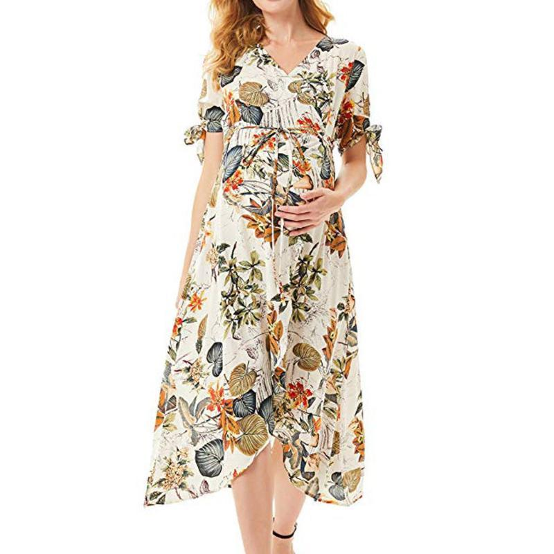 Casual Maternity Floral Dresses Baby Shower Nursing Pregnancy Dress Clothes For Pregnant Women Sundress Breastfeeding Dress New