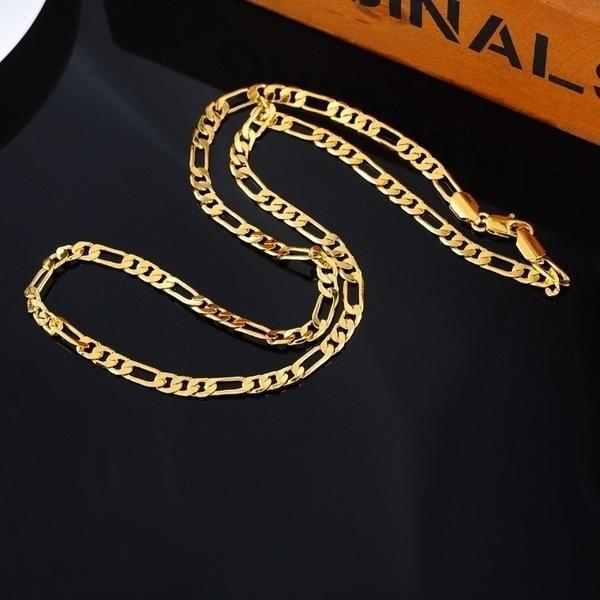24 كيلو الذهب البلاتين مطلي سلاسل 4.5 ملليمتر الرجال nk الروابط figaro قلادة المختنقون مجوهرات خمر 20 بوصة 50 سنتيمتر
