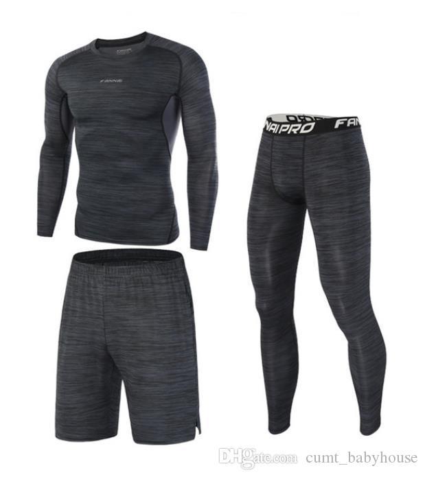 Yüksek kaliteli sıkıştırma erkek spor Takımları hızlı kuru koşu setleri giysi spor Joggers Eğitim Gym Fitness eşofman Koşu