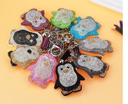 10pcs/Lot Penguin Keychain Korean Style Woman Man Casual Rhinestone Leather Cute Animal Key Ring Bag Charm Fashion Tassel Keyring Gift
