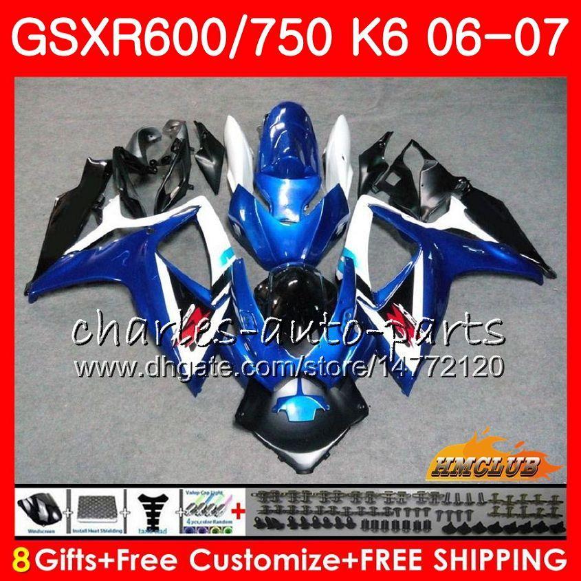 Body Stock Blue Hot för Suzuki GSX R600 GSX-R750 GSXR-600 GSXR600 06-07 8HC.73 GSX R750 GSXR 600 750 06 07 K6 GSXR750 2006 2007 FAIRING KIT