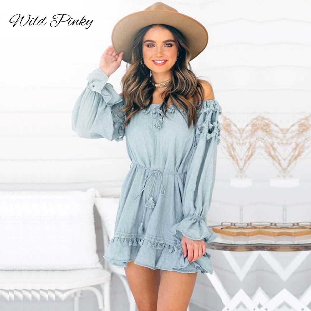 WildPinky Boho Cotton Ruffles Lace Up Off Shoulder Abito donna Summer Long Flare Sleeve Abito vintage Short Nappa Vestido