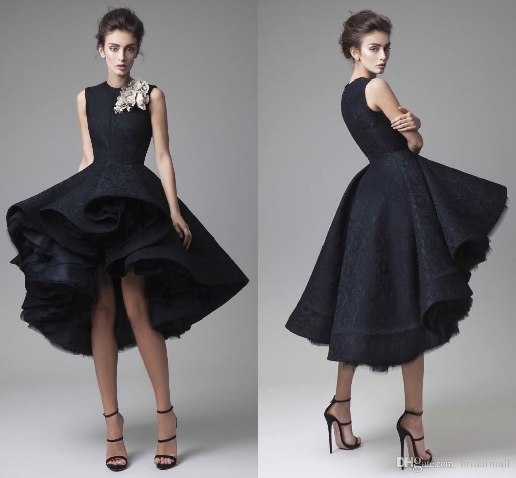 Formele jurk 2020 High-low Black Kant Prom Jurken Tiered Ruches Rokken Korte Homecoming Jurken Arabische Cocktail Party Dress Robes de Soiree