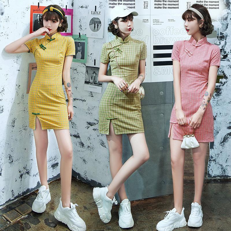 Manica corta FZSLCYIYI Plaid in cotone mini qipao sexy Cheongsam cinese Dress femminile orientale Donne abito da sera Spalato