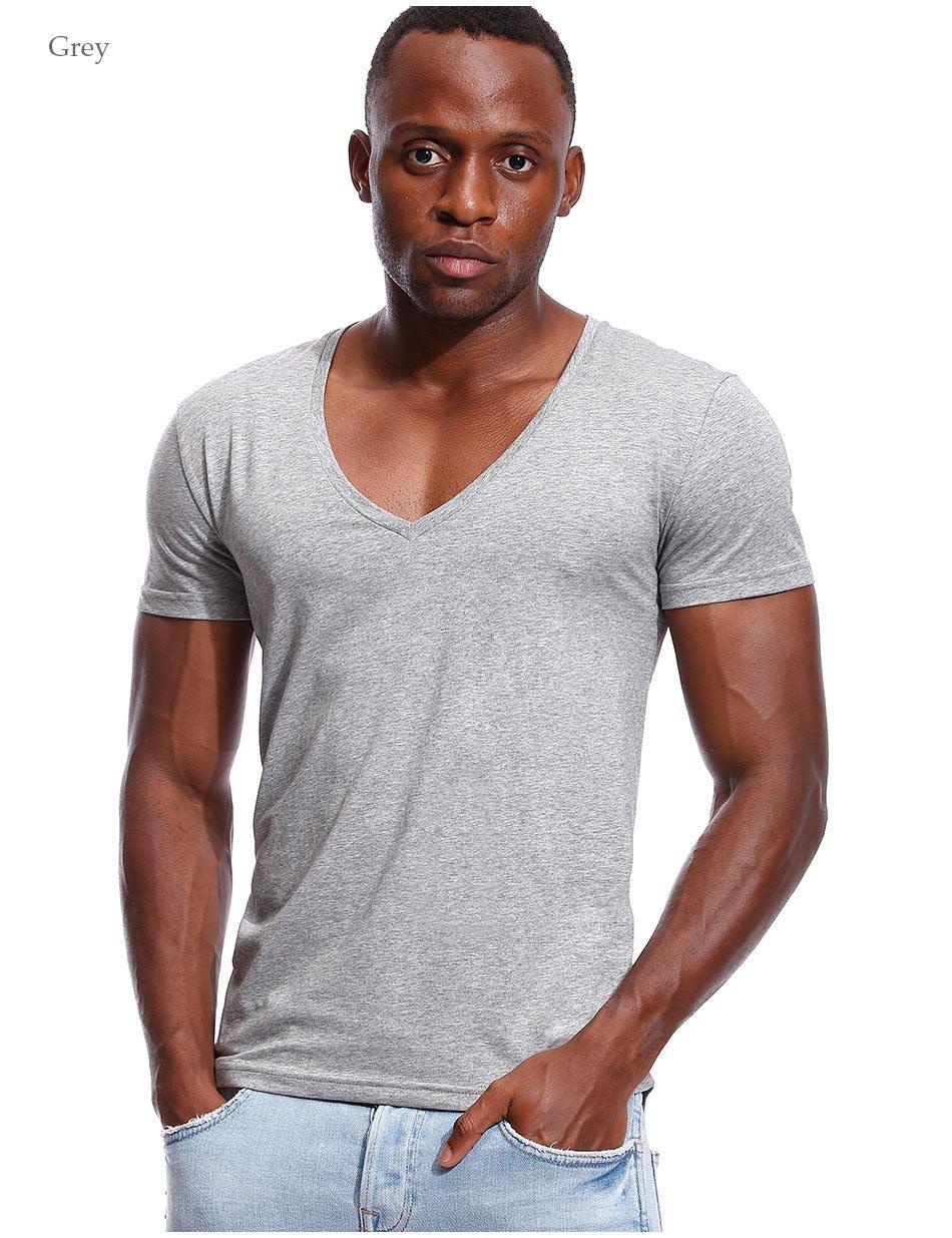 092a6c289d62 Deep V Neck T Shirt for Men Low Cut Vneck Wide Vee Tee Male Tshirt  Invisible Undershirt Model Scoop Hem Slim Fit Short Sleeve