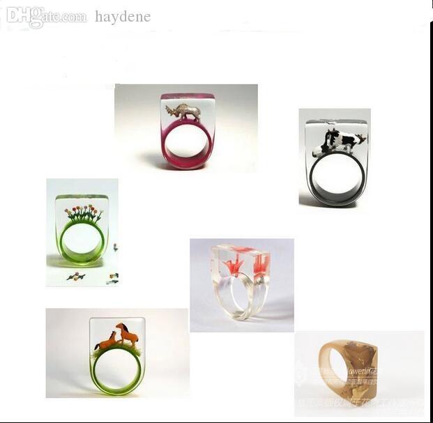 Al por mayor-1 unidad molde de anillo de silicona Claro bricolaje Para la resina de epoxy con el Real flores hechas a mano herramientas de joyería Equipamientos