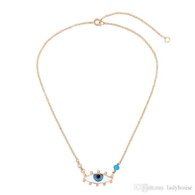 golden eye necklace Evil eye choker necklace with a turquoise stone eye necklace with sleeping turquoise necklace