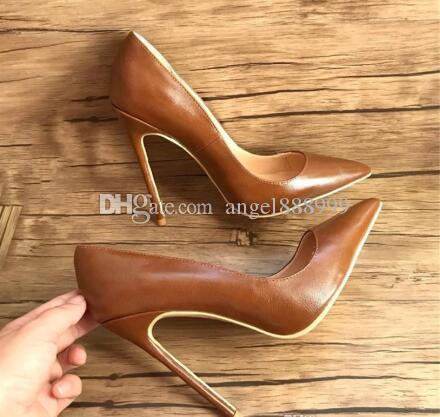 Бесплатная доставка реальные фото моды для женщин туфли на высоком каблуке коричневая кожа ягненка острым носом высокие каблуки тонкие каблуки обувь сапоги из натуральной кожи 120 мм леди