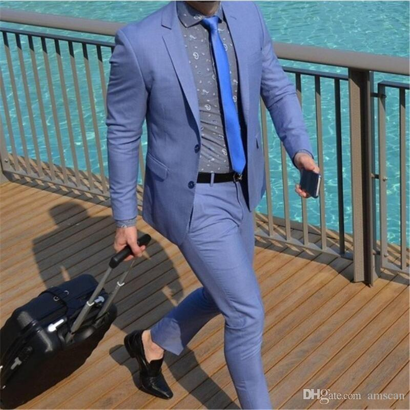 Two Buttons Notch Lapels Tailed Coat Men Suits For Wedding 2Pieces(Jacket+Pants+Tie) Fashion Custom Homme Terno Slim Fit Blazer CY03