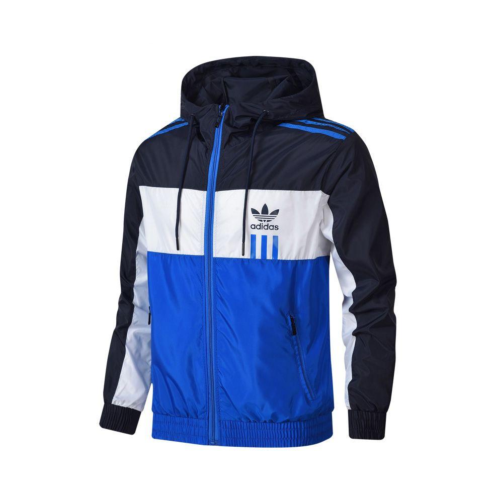 vente chaude Hommes Femmes luxe nouvelle marque de sport vestes coupe-vent Couleurs Patchwork contrat Veste imperméable avec capuche Manteaux tirettes Up