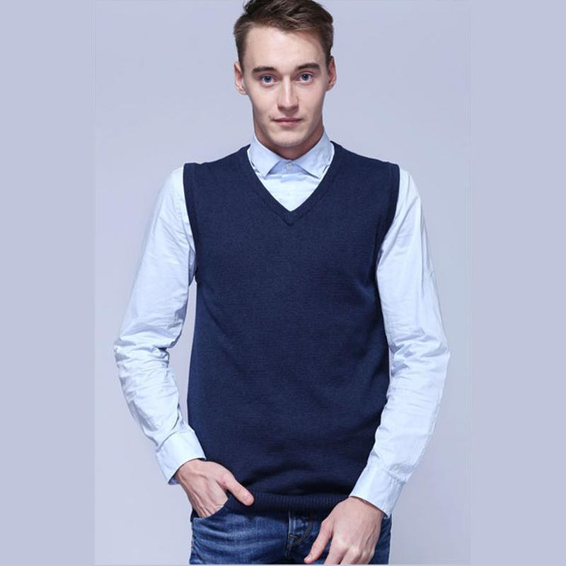 100% coton 2019 New Spring Mens chandails tricotés sans manches à col en V gilet décontracté vêtements pour hommes tops slim chandails de couleur unie