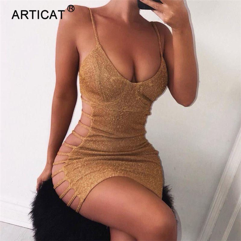 Articat 사이드 중공 섹시 Bodycon 붕대 드레스 여성 스파게티 스트랩 V 목 미니 여름 드레스 캐주얼 파티 드레스 Vestidos Y19052703