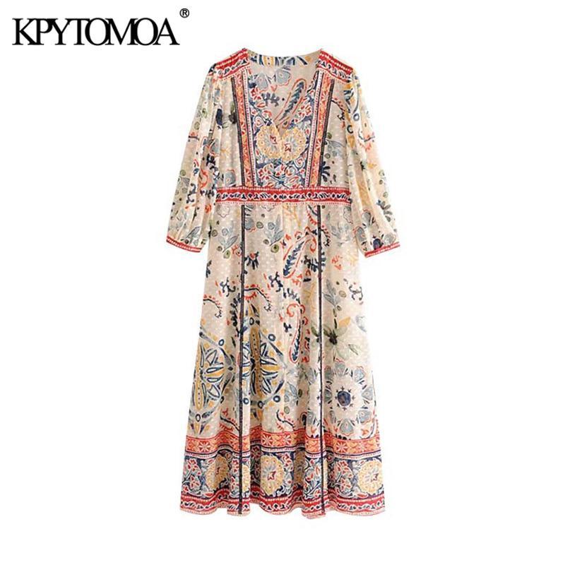 KPYTOMOA Mujeres floral elegante impresión de la moda del vestido maxi de la vendimia con cuello en V mangas de tres cuartos hendidura lateral Mujer Vestidos Vestidos Mujer MX200518