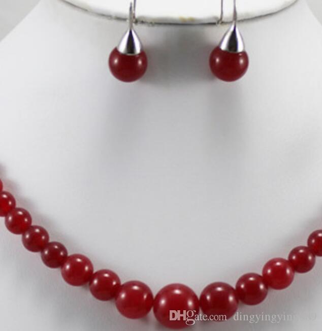 مجوهرات مثيرة تبيع تصميم جديد تصميم جميل 6-12m 18 عقد جايد حمراء و 8mm red jade الأقراط