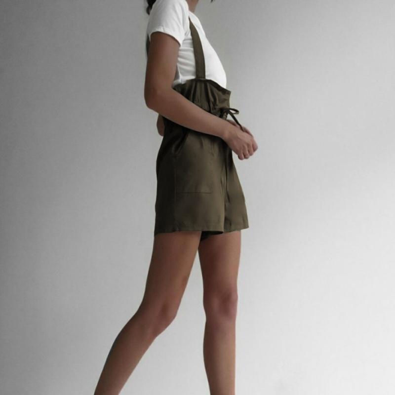 الصيف مثير سراويل النساء عارضة لون الصلبة عالية الخصر جيب مستقيم حزام ربط الحذاء حتى وزرة السراويل الساخن بيع