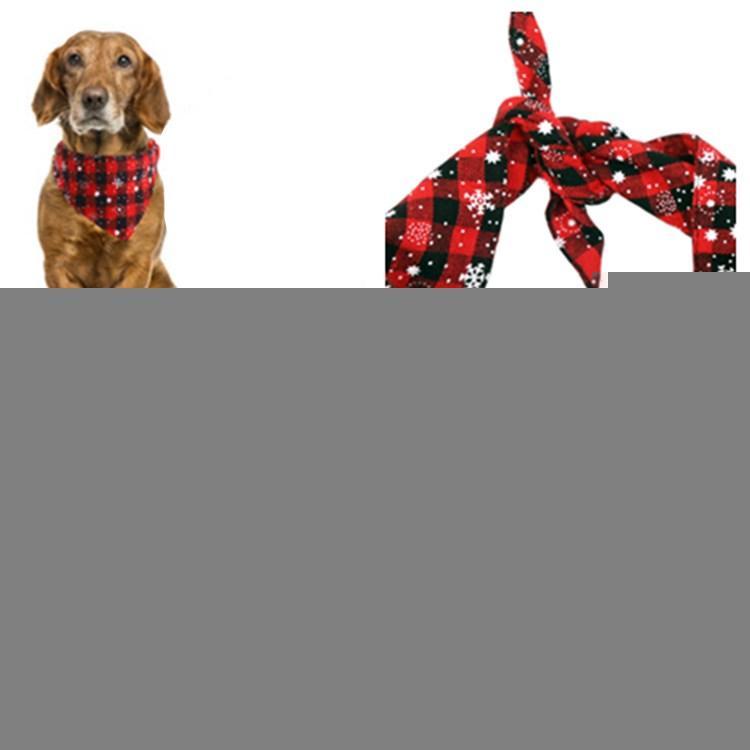 fashion Christmas Pet Scarf Triangle Bibs Dog Bandanas Plaid Snowflake Kerchief Costume Accessories for Dog SuppliesT2I5625