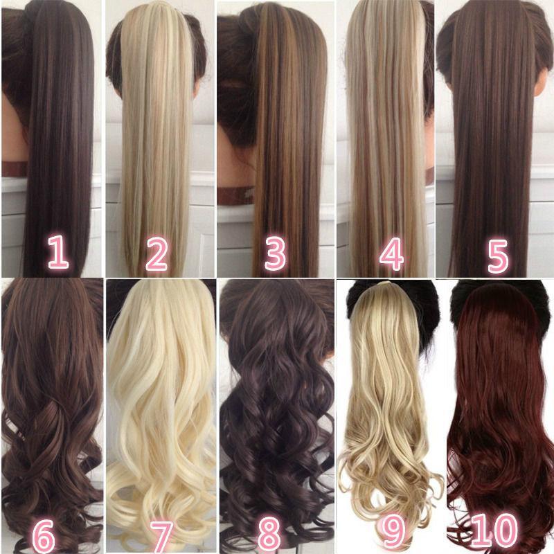 """22 """"긴 곱슬 Cliptail false ponytail hairpiece hairpins 합성 조랑말 꼬리 머리 확장"""