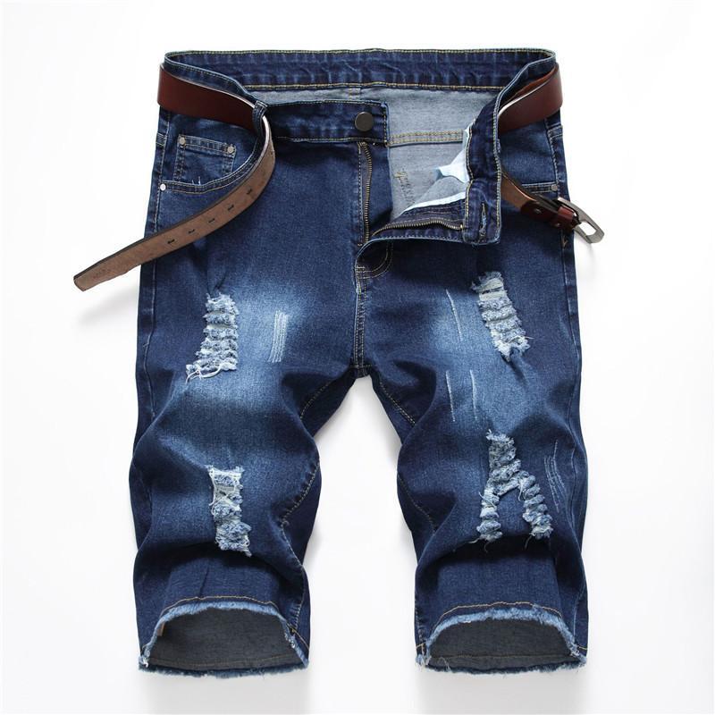 Mens Denim Shorts sezione sottile elastico slim fit jeans strappati Shorts modo di estate Pantaloni Casual Maschio brevi