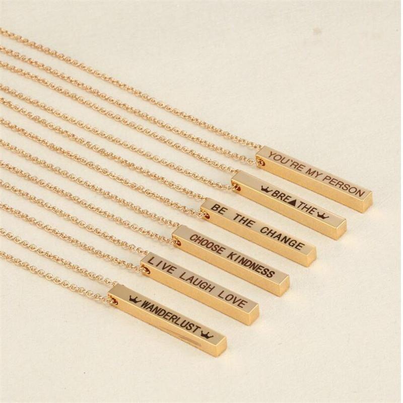 Quatre côtés personnalisé Square Bar collier pendentif en acier inoxydable Collier femmes / hommes cadeau MNE180014