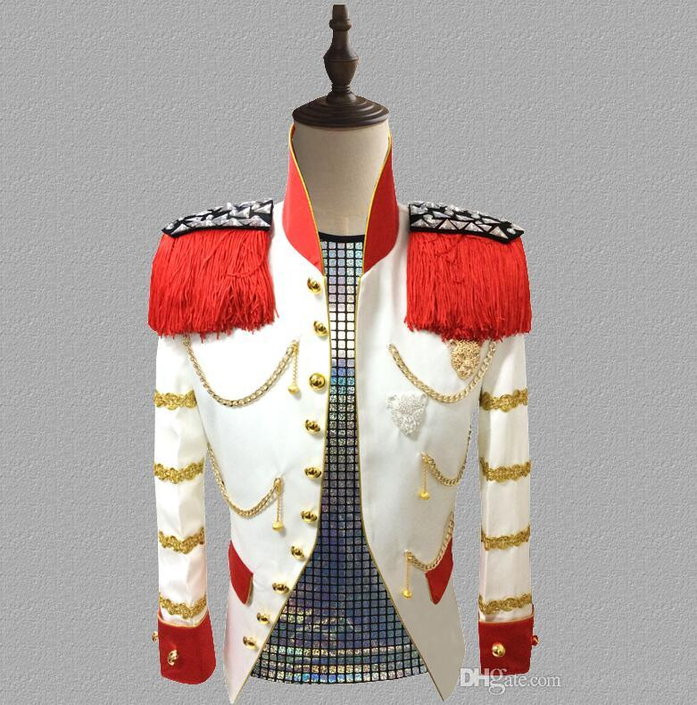 blazer men suits designs jacket mens stage Court uniform singers clothes dance star style dress punk rock masculino homme white