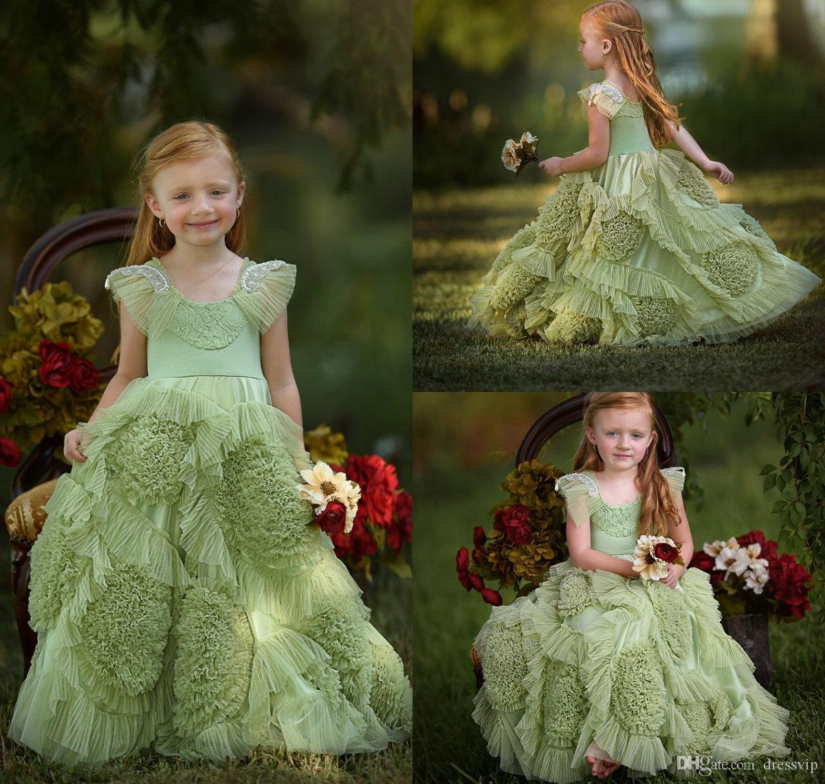 2019 New Beach Flower Girl Dresses Green Boho First Communion Dress For Little Girl Jewel Neck Sleeveless A-Line Cheap Kids Wedding Dress