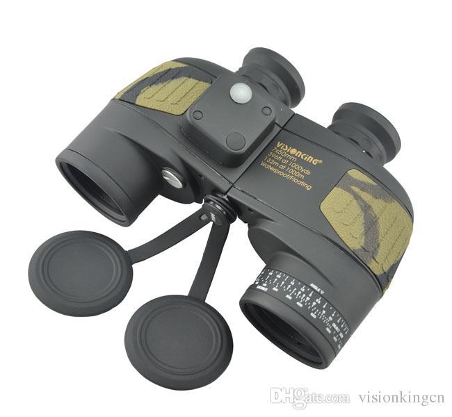Visionking 7x50 BAK4 Binoculares flotantes impermeables con brújula incorporada Prismaticos Buscador de gama Telescopios de caza a prueba de agua