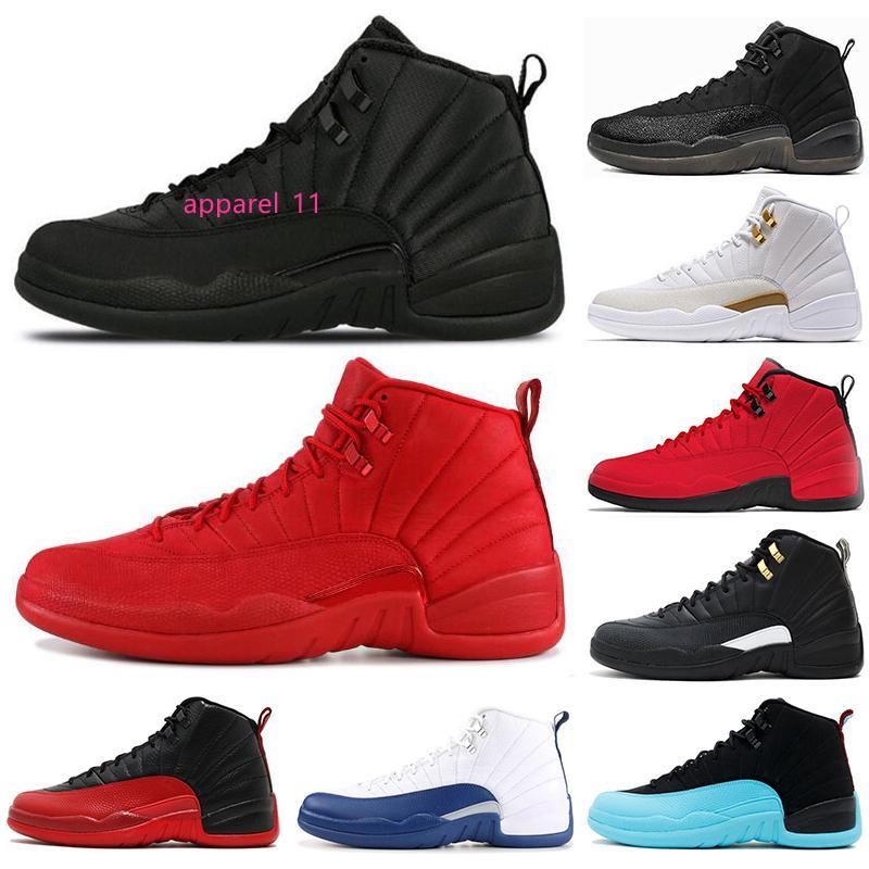 2019 Nouveau 12 12s hommes Chaussures de basket Sneakers hiberné Gym en rouge Taxi FLU GAME chaussures hommes gris foncé 12s sport 7-13