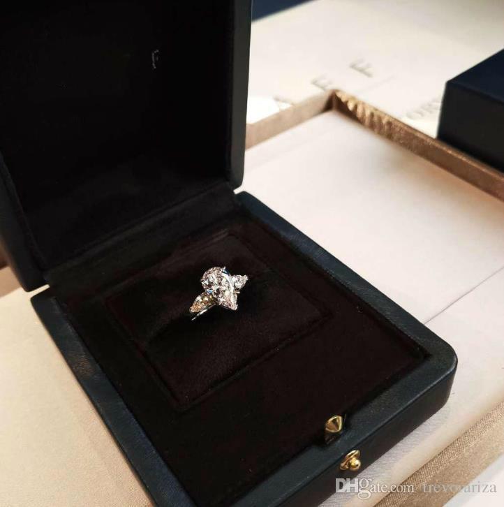 Ünlü tasarımcı takı 925 gümüş altın kaplama damla elmas yüzük kadın düğün elmas yüzük takı