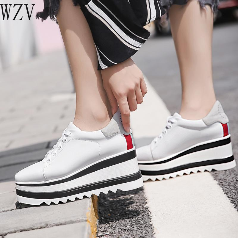 Womens Lace Up Genuine Leather Fashion Sneakers Business Flat Casual Shoes