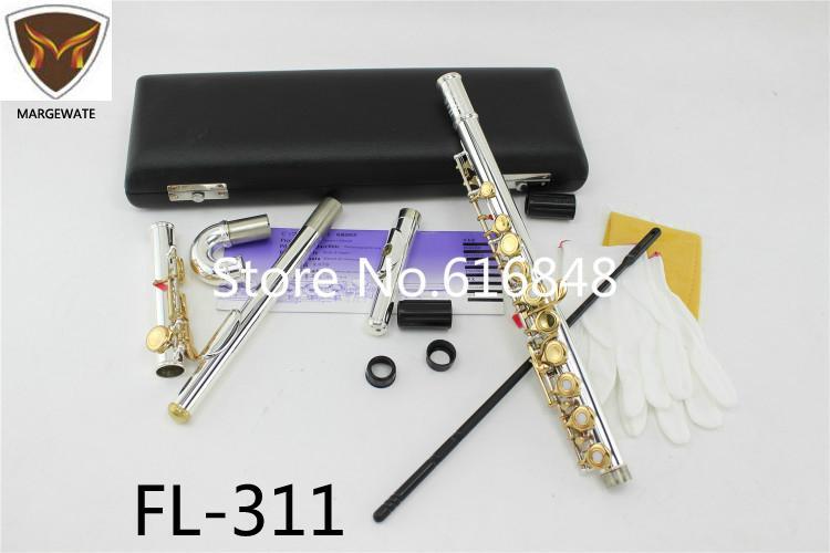 FL-311 Padrão Ouro Prata Corpo Chave C Tune flauta com pequeno cotovelo curvo Cabeça 16 17 Holes chave Aberto Fechado Flauta Flauta