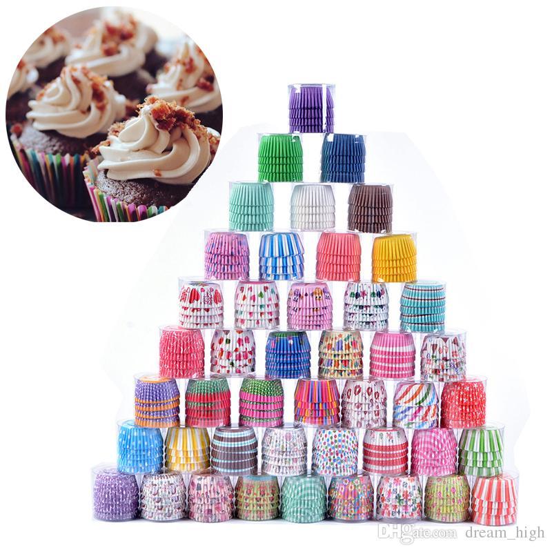 Bolo de papel colorido Cupcake Liner Baking Muffin Cups Caso Partido bandeja Mold Bolo decoração ferramentas Kitchen Cupcake Papel 100pcs / lot