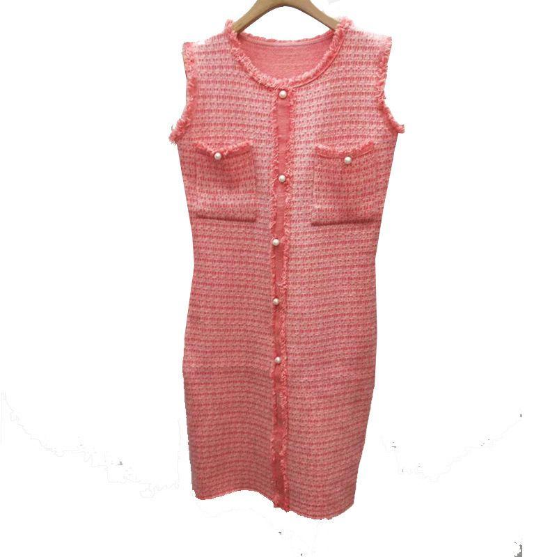 Colete vestido sem mangas colete saia doce seção longa vestido rosa saia botão pérola no exterior desgaste maré