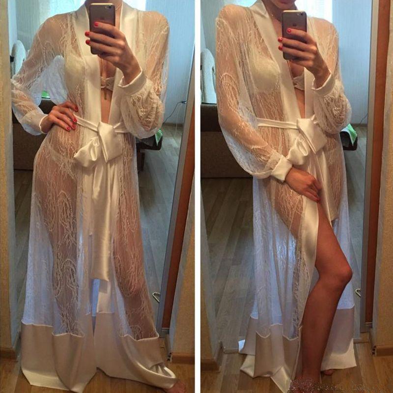 Batas sexy para mujer Bata de kimono de encaje de seda larga Bata de baño Babydoll Lencería See Through Camisón Batas