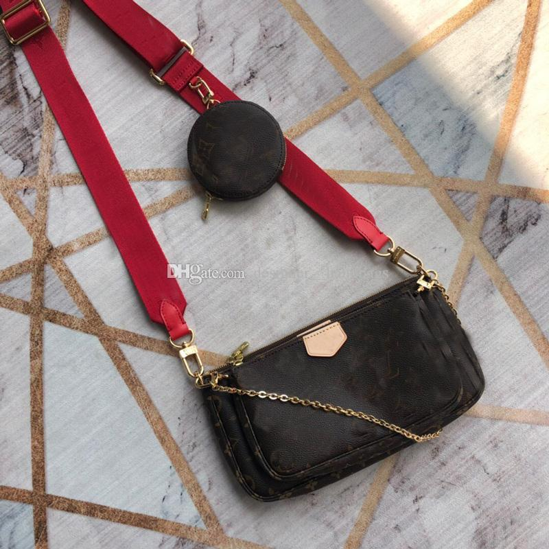 Shoulder Bags Purse Vintages Flowers Knitting Genuine Leather Letter Three-piece Purse High Quality Women Handbag Wallets