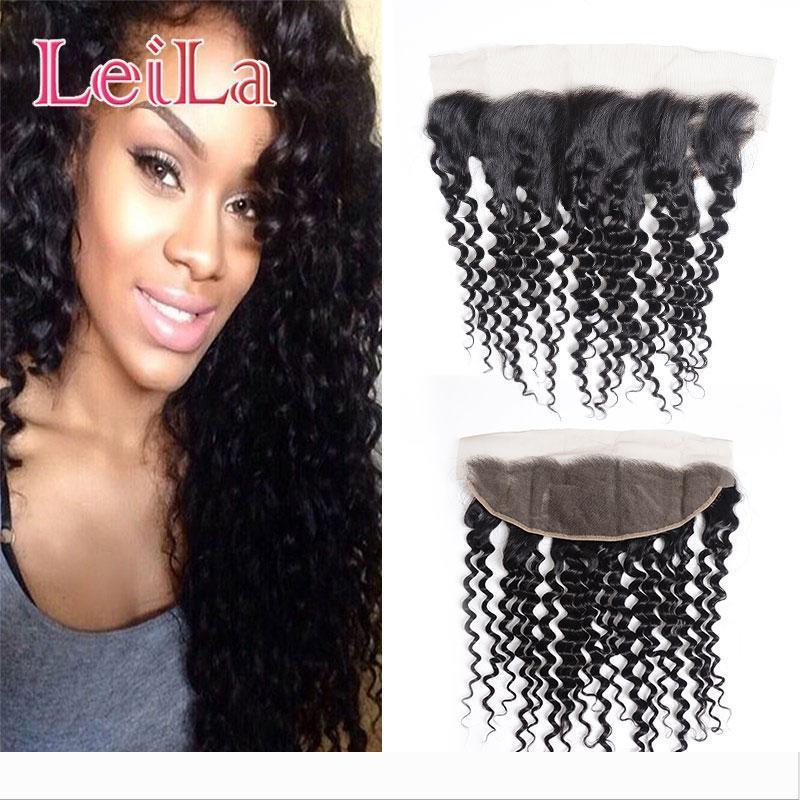 Designer péruvien Vierge humaine Cheveux vague profonde Curly 13 X 4 Dentelle Frontal avec bébé cheveux 50-80 g Pré plumé vague profonde Lac