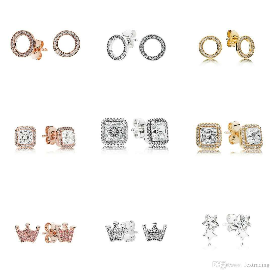 925 Sterling argent carré grand CZ diamant Boucle D'oreille Fit Bijoux De Mariage Or Rose plaqué or Stud Femmes Boucles D'oreilles Accessoires