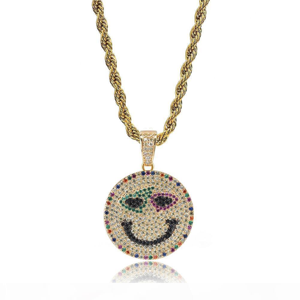 Ouro 18K Micro-Embutida Colorido Zircon cara do sorriso colar de pingente redondo com corda Cadeia gratuito para as Mulheres Homens