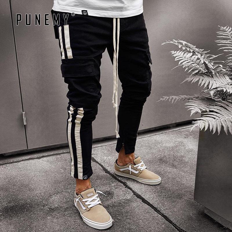 Мужская одежда черные брюки-карго мужчины повседневная тощий трек карандаш брюки уличная хип-хоп брюки осень бегуны Мужские брюки