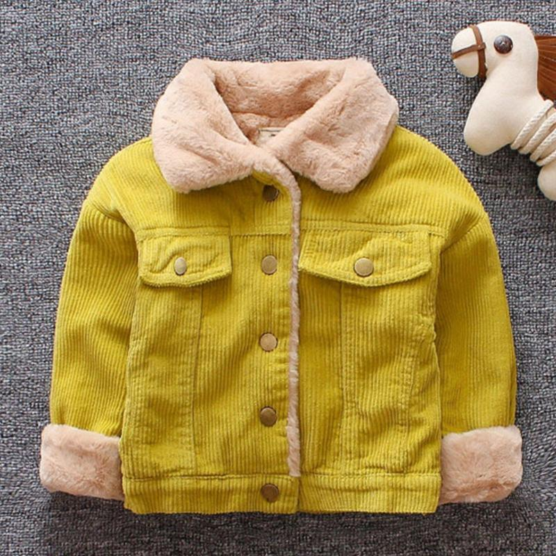 Baby Girls Boys Casual Winter Warm Jacket For Kids Plush Cotton Coat Children Lapel Outerwear 0-3 Y Toddler Christmas Clothes
