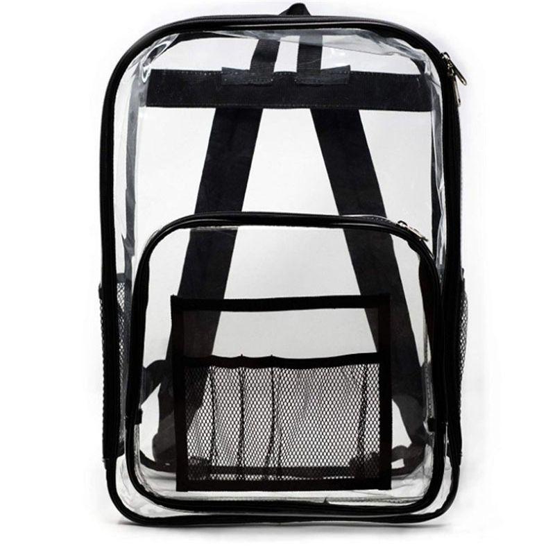 Diseñador-Clear PVC transparente Mochila para adultos y estudiantes ver a través de viajes Bookbag mochila Mochila Mochila Hombres bolsos de la playa
