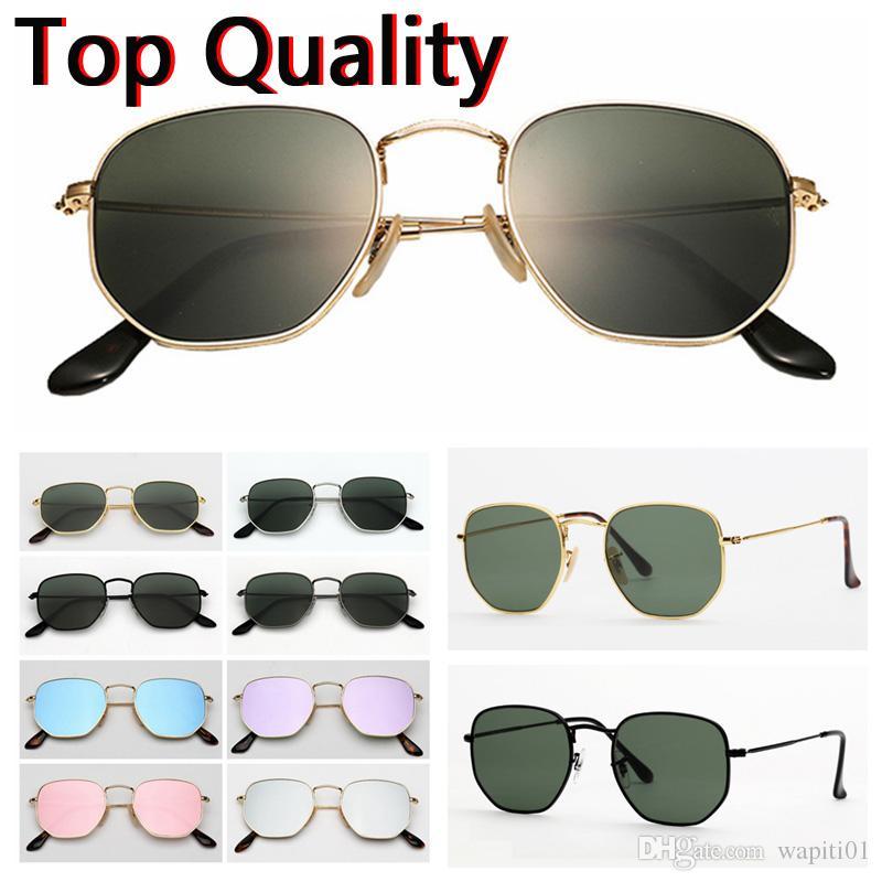 lentilles de verre de lunettes de soleil métal plat hexagonal pour femmes des hommes de lunettes de soleil mâle femelle avec boitier brun ou noir, tissu, boîte de papier, accessoires