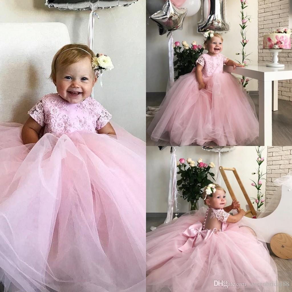Lindo rosa casamento meninas do fower vestidos 2019 lace applique botões de volta princesa vestidos de festa de aniversário com arco