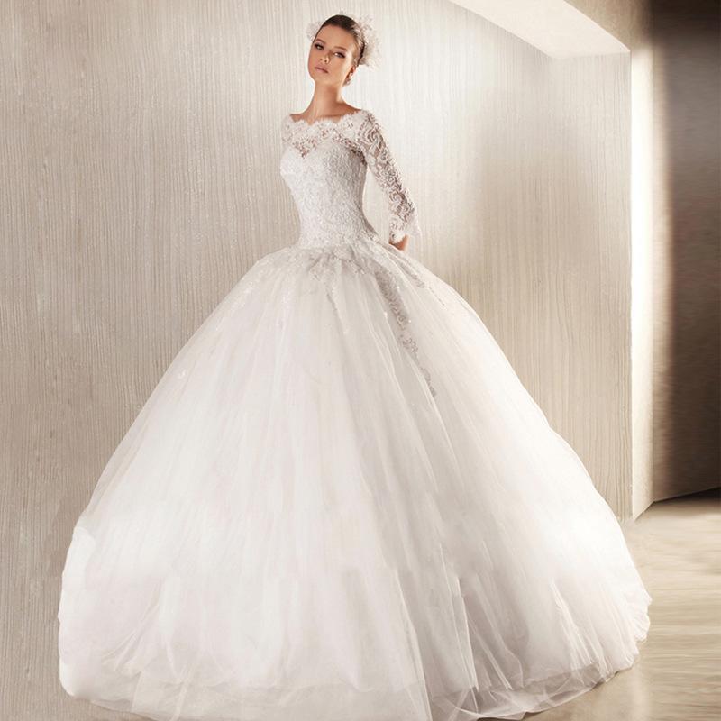 Бальное платье с вырезом и тюлем Свадебное платье с половиной рукавов 2020 Иллюзия Bodice vestido de noiva Кружева и зима Аппликации Свадебные платья