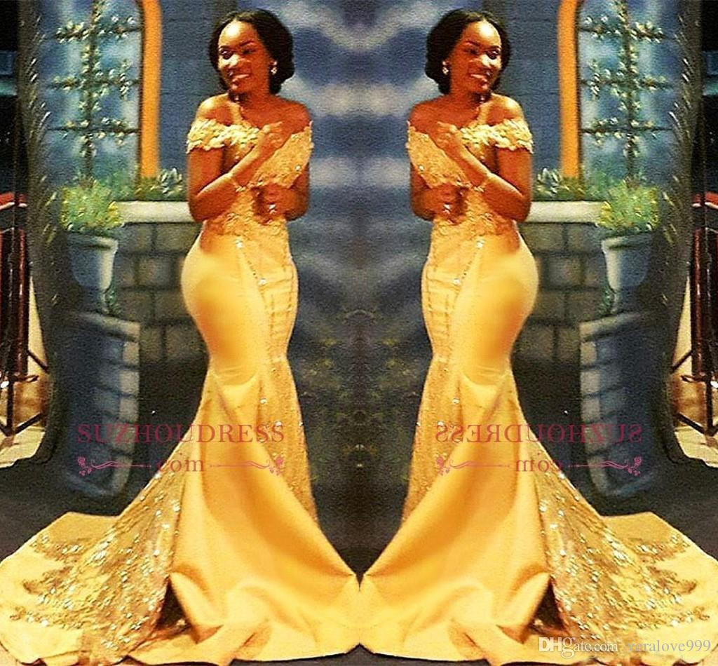 African Nigerian Yellow Mermaid Prom Dresses 2018 Off Spalle in pizzo con paillettes da sera in raso Abiti abiti arabi