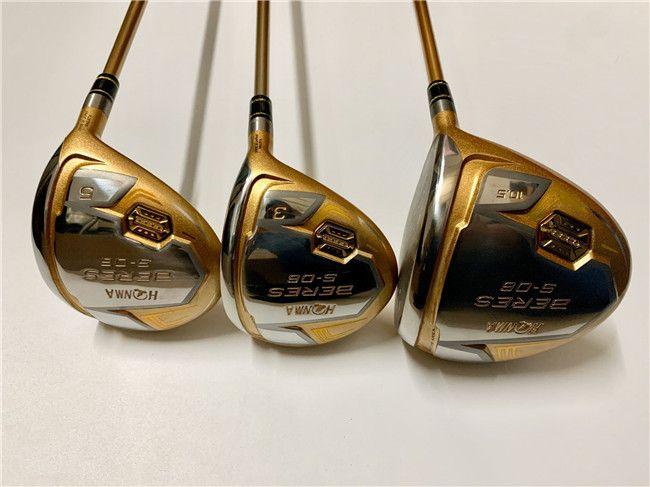 4 Sterne Honma S-06 Holz Set Honma S-06 Woods Brand New Golf Clubs Treiber + Fairway Woods Graphitwelle mit Kopfabdeckung
